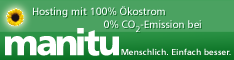 Hosted with 100 % green electricity by manitu GmbH